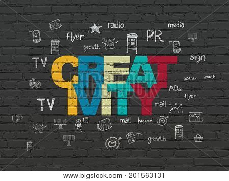 Marketing concept: Painted multicolor text Creativity on Black Brick wall background with  Hand Drawn Marketing Icons