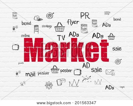 Marketing concept: Painted red text Market on White Brick wall background with  Hand Drawn Marketing Icons