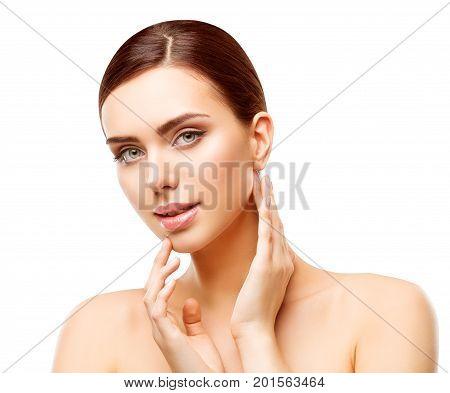 Woman Beauty Makeup Natural Face Make Up Body Skin Care Beautiful Model Touching Neck Chin