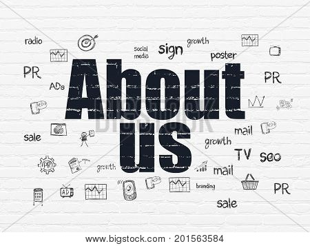 Advertising concept: Painted black text About Us on White Brick wall background with  Hand Drawn Marketing Icons