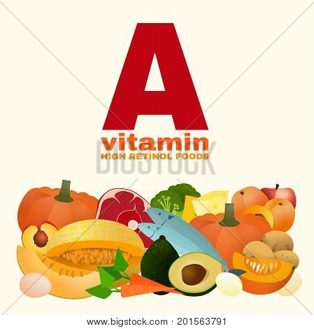 Vitamin A concept. High retinol foods. Food sources graphic information. Vector illustration isolated on a light beige background.