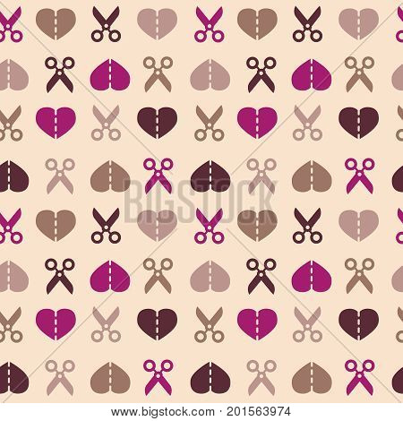 Seamless scissors and hearts pattern in vintage colors. Heart cut in half with scissors. Valentines Day pattern with cut heart. Vector illustration.