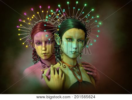 3d computer graphics of two little fairies with illuminated headdress