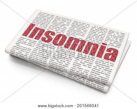 Health concept: Pixelated red text Insomnia on Newspaper background, 3D rendering