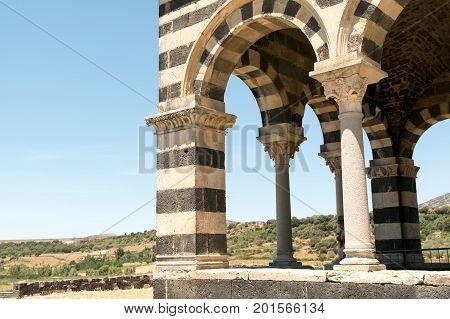Romanesque church northern Sardinia Sassari Province. Itay.