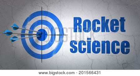 Success Science concept: arrows hitting the center of target, Blue Rocket Science on wall background, 3D rendering