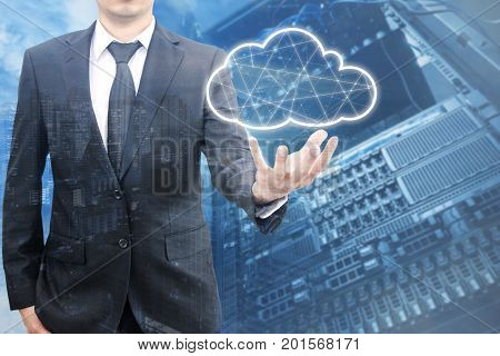 Double Exposure Of Professional Businessman Connecting Network And Database On Hand In Technology, C