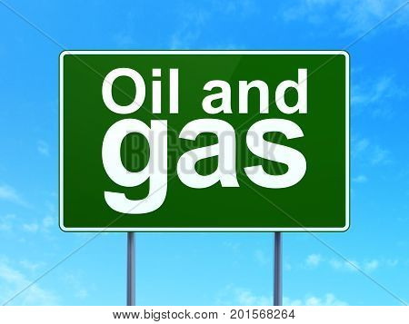 Industry concept: Oil and Gas on green road highway sign, clear blue sky background, 3D rendering