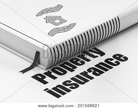 Insurance concept: closed book with Black House And Palm icon and text Property Insurance on floor, white background, 3D rendering