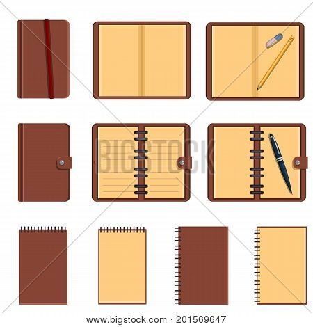 Vector Set Of Color Flat Notepads