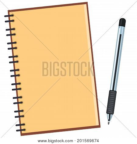 Vector Flat Illustration - Open Blank Notepad With Black Ball-point Pen