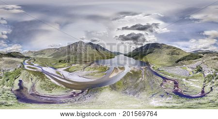 Aerial view of the paradisal landscape of Glen Etive, Scotland