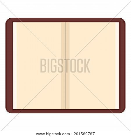 Vector Open Brown Notepad With Blank White Pages