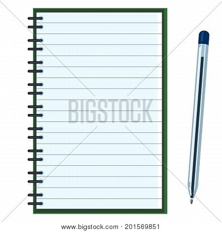 Vector Flat Illustration - Open Lined Notebook With Ball-point Pen