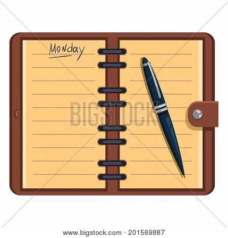 Vector Open Organizer With Pen And Text: Monday