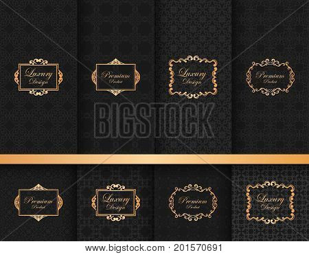 Collection Of Ornate Backgrounds With Frames, Ornamental Patterns, Labels, For Packaging And Design