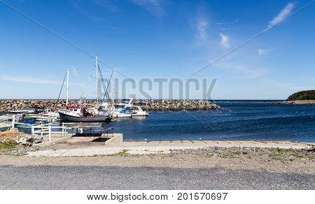 Riviere-Madeleine Canada-10 August 2017 : View of Riviere-Madeleine marina port in Gaspesie Quebec Canada at daytime summer