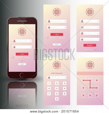 Vector illustration of nice mobile phone set of security frames. Template with login registration passcode and swipe screens.