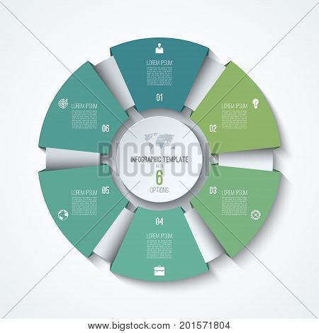 Circle infographic template. Process wheel. Vector pie chart. Business concept with 6 options, parts, steps. Can be used for diagram, graph, chart, step by step infographics, web design