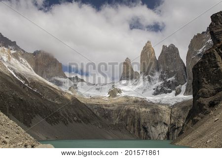 torres del paine in south america with clouds