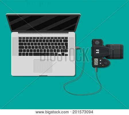 Photo camera plugged to laptop usb port. Import photos from camera to computer. Vector illustration in flat style