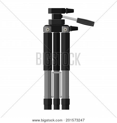 Folded tripod. Stand for video and photo equipment. Flat style camera tripod. Vector illustration