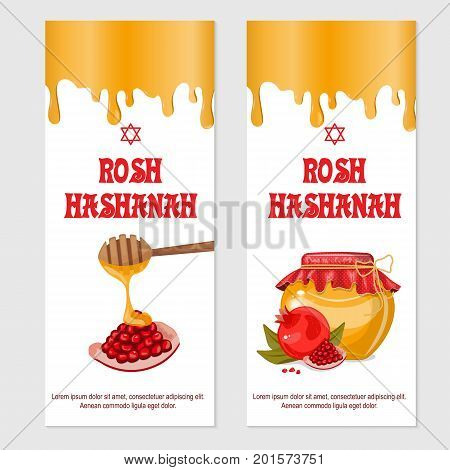 Rosh Hashanah Jewish New year greeting card set design with handle for painting with honey and pomegranate. Set of postcards. Rosh Hashanah vector greeting card design for Jewish New Year. Stock vector.