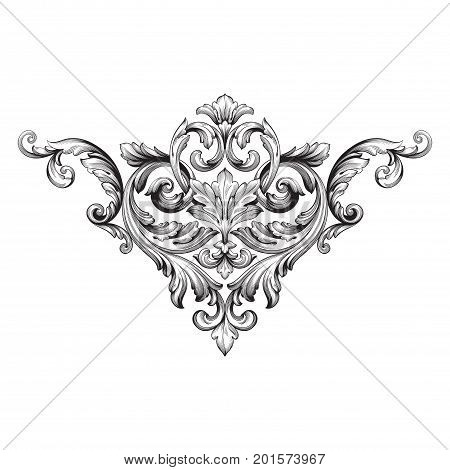 Baroque vector of vintage elements for design. Decorative design element filigree calligraphy vector. You can use for wedding decoration of greeting card and laser cutting.
