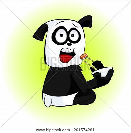 Fun cartoon panda eats sushi. Concept illustration of snack, sushi, exotic nutrition, sea food. Vector