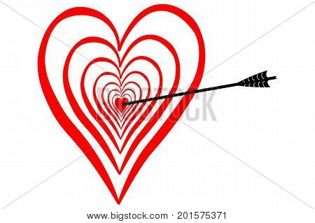 Strike in love in the middle of the heart dartboard with arrow