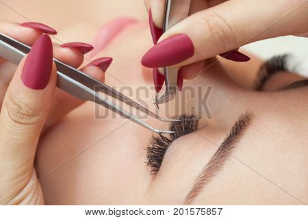 Eyelash Removal Procedure Close Up. Beautiful Woman With Long Lashes In A Beauty Salon. Eyelash Exte