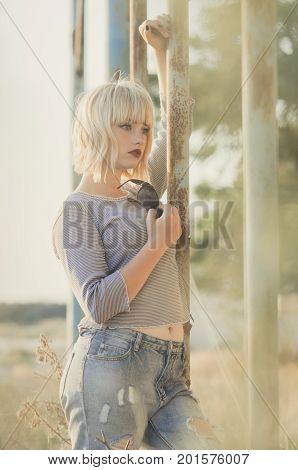 Teen Girl In Grunge Style