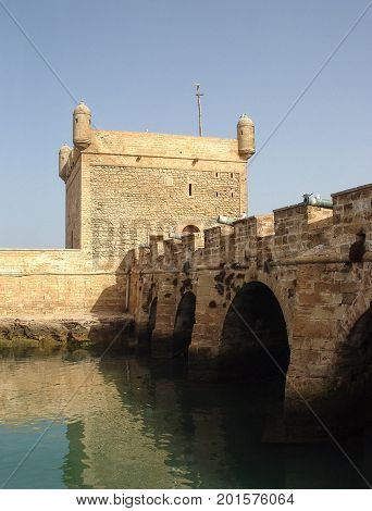 Fortress wall and cannons in Essaouira. Morocco