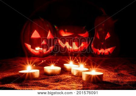 Several Very Scary Halloween Pumpkins, With A Menacing Gaze And A Grinning Villain, Glow From The In