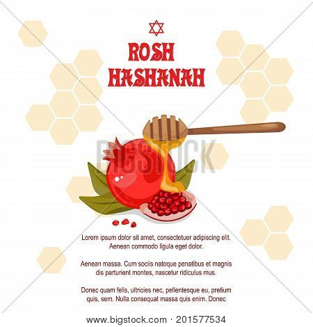 Rosh Hashanah Jewish New year greeting card set design with a pen to draw red kranat with honey. Stock vector. Celebrating Rosh Hashanah-Shanah.