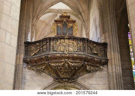 KUTNA HORA, CZECH REPUBLIC - AUGUST 15, 2017: Interior of Cathedral of St. Barbara, Kutna Hora, Czech Republic