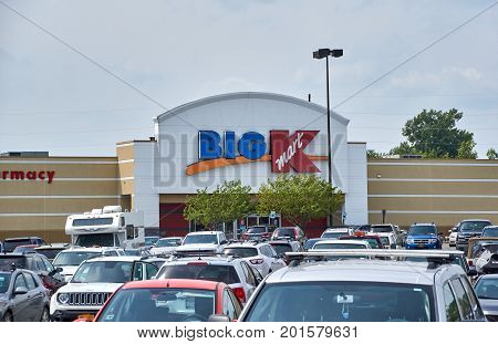 PLATTSBURGH USA - AUGUST 23 2017 : Big Kmart store and logo. Kmart is an American big box department store chain headquartered in Hoffman Estates Illinois
