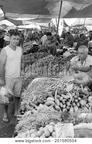 CALIS, TURKEY 6TH AUGUST 2017:  Fresh market produce of fruit and vegetables for sale in a local market in calis, Turkey,6th august 2017