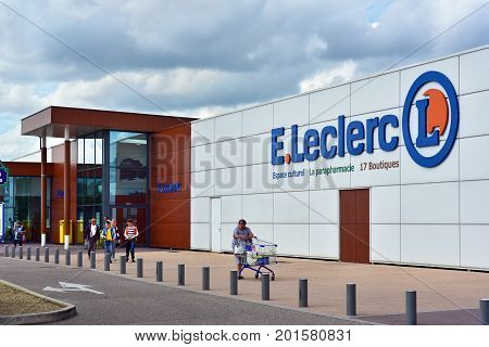 VERDUN, FRANCE - AUGUST 16, 2017: Branch of E. Leclerc Supermarket. Leclerc is a French cooperative society and hypermarket chain.