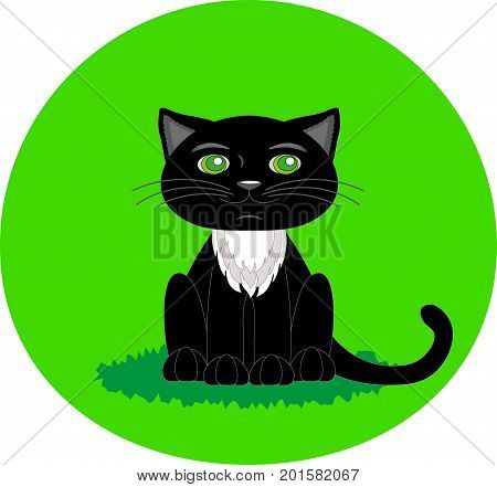 Black cat with green eyes. Cartoon character. Flat vector stock illustration.