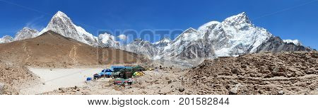 Panoramic view of Gorak Shep village an sherpas Mount Kala Patthar Pumo Ri Nuptse and others Sagarmatha national park Khumbu valley Nepal