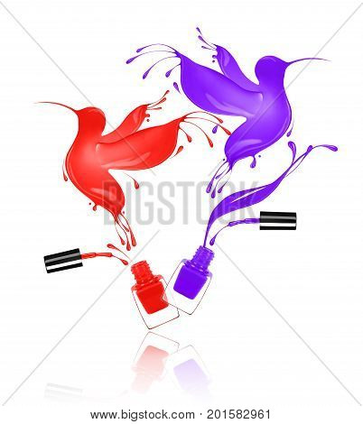 Stylized hummingbirds made with splashes of nail polish flies out of bottlen on white background