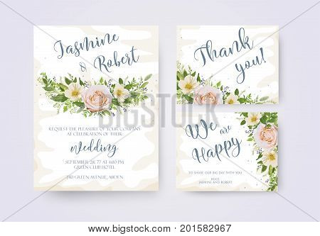 Wedding invitation invite flower invite thank you card design: light pink garden Rose Magnolia flowers Camellia flower romantic poster banner. Vector anniversary print. Elegant template set collection
