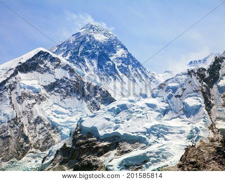 View of top of Mount Everest with clouds from Kala Patthar way to mount Everest base camp khumbu valley nepalese himalayas - Nepal