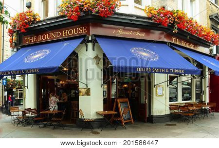 LONDON, UK-AUGUST 15, 2017:The Round House historic beer-house is right on the doorstep of some of London's greatest sights including Covent Garden, the River Thames and some of the finest theatres.