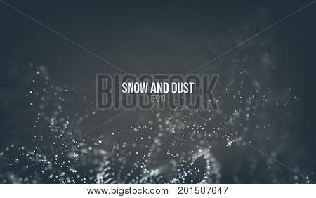 Falling snow particles flying on the air. Dust storm vortex. Bokeh effect. Snowflake cloud explode