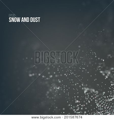 Falling snow particles flying on the air. Dust on the dark background. Bokeh effect. Snowflake cloud explode