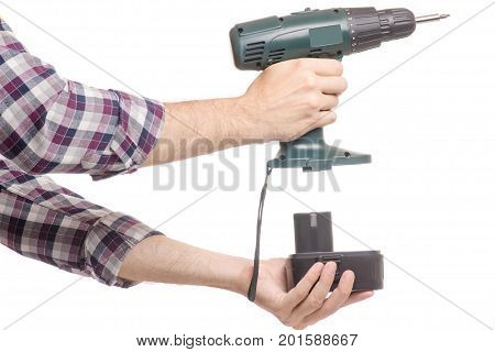 Screwdriver in male hands isolated on white background isolation