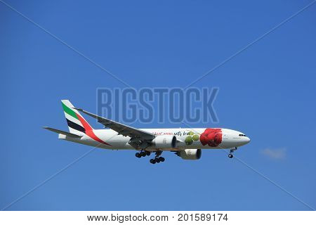 Amsterdam the Netherlands - July 9th 2017: A6-EFL Emirates Boeing 777 approaching Schiphol Amsterdam Airport Kaagbaan runway Red Rose livery