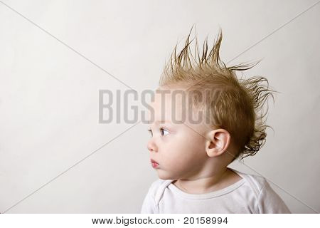 baby with a mohawk